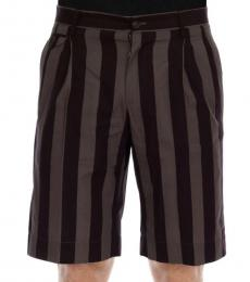 Dolce & Gabbana Grey Purple Striped Shorts
