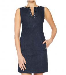 Versace Jeans Blue Crew Neck Denim Dress