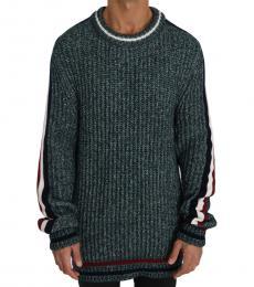 Dolce & Gabbana Dark Green Knit Wool Crewneck Pullover