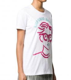 White/Pink/Blue Logo Portrait Print T-Shirt