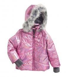 Calvin Klein Little Girls Pink Metallic Chevron Jacket