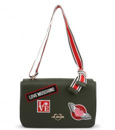 Love Moschino Olive Patches Medium Shoulder Bag