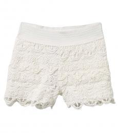 BCBGirls Girls White Crochet Pull-On Shorts