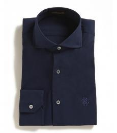 Roberto Cavalli Navy Blue Solid Dress Shirt