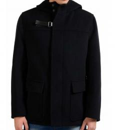 Navy Blue Button Up Hooded Pecoat