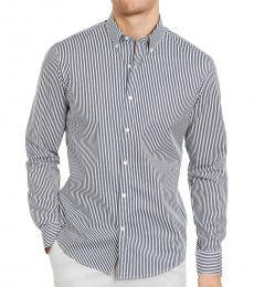 Dark Blue Slim-Fit Stretch Stripe Shirt