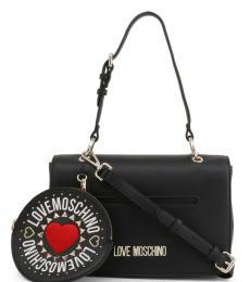 Love Moschino Black Round Pouch Medium Shoulder Bag