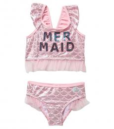 Betsey Johnson Little Girls Mermaid Sequin Two-Piece Swimsuit