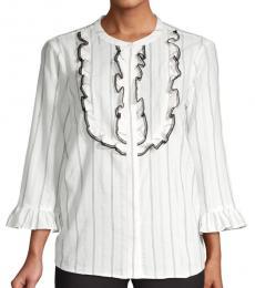 Karl Lagerfeld White Black Striped Ruffled Top