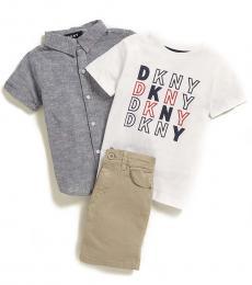DKNY 3 Piece Shirt/T-Shirt/Chinos Set (Little Boys)