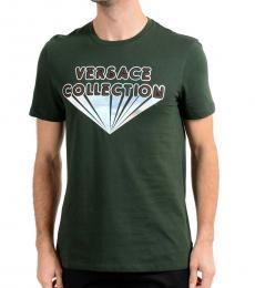 Versace Collection Green Iridescent Logo T-Shirt