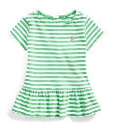 Ralph Lauren Baby Girls Green Striped Peplum T-Shirt