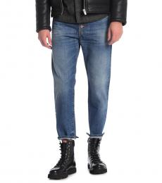 Blue Mharkey Straight Leg Jeans