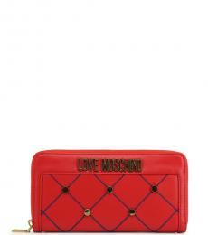 Love Moschino Red Criss-Cross Stitch Wallet