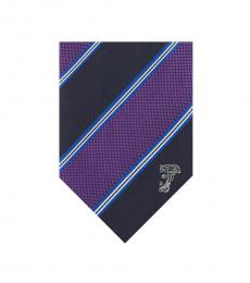 Versace Violet Blue Multi-Stripe Tie