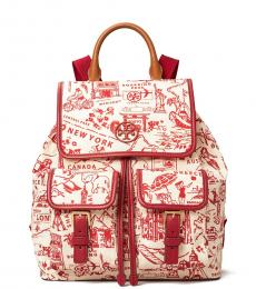 Red Destination Perry Printed Medium Backpack