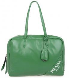 Prada Green Logo Large Tote