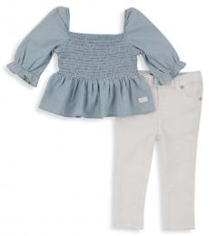 7 For All Mankind 2 Piece Top/Jeans Set (Little Girls)