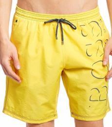 Yellow Logo Premium Swim Shorts