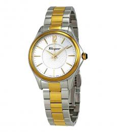 Salvatore Ferragamo Silver-Gold Two Tone Watch