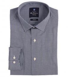 Ben Sherman Blue Stretch Collar Gingham Dress Shirt