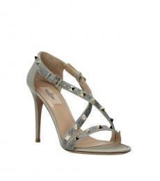 Valentino Garavani Grey Rockstud Open Toe Heels