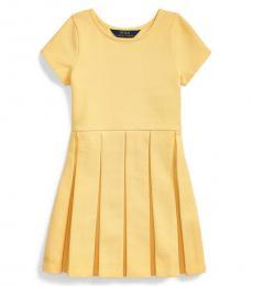 Ralph Lauren Little Girls Empire Yellow Pleated Ottoman-Rib Dress