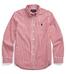 Ralph Lauren Boys Evening Post Red Striped Poplin Shirt