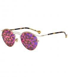 Christian Dior Gold Havana Marqueterie Pattern Sunglasses