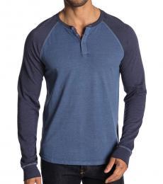 Lucky Brand Navy Blue Long Sleeve Colorblock Henley