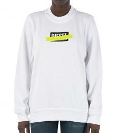 Diesel White Round Neck Logo Sweatshirt