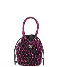 Prada Black/Ultra Pink Mesh Net Mini Bucket Bag