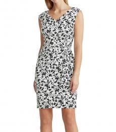 Ralph Lauren White Floral Jersey Cap-Sleeve Dress