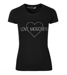 Love Moschino Black Crew Neck Logo Tee
