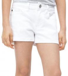 Calvin Klein Little Girls White Straight Denim Shorts