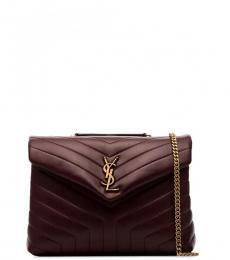 Saint Laurent Burgundy Loulou Large Shoulder Bag