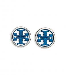 Tory Burch Silver-Blue Logo Miller Circle Stud Earrings