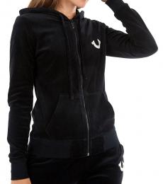 True Religion Black Crystal Emebllished Hoodie Sweatshirt