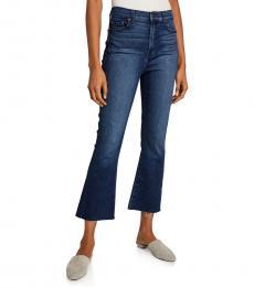 7 For All Mankind Medium Blue High-Waist Slim Kick Cutoff Jeans