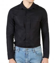 Armani Jeans Black Cotton Solid Shirt