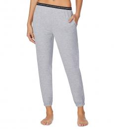 DKNY Grey Cropped Knit Jogger Pajama Pants