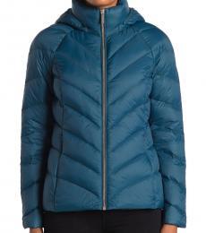 Michael Kors Luxe Teal Short Packable Puffer Jacket