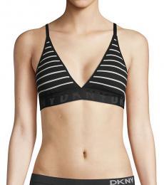 DKNY Black Ribbed Striped Triangle Bralette