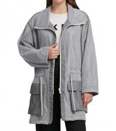 DKNY Grey/Silver Mesh Anorak Jacket