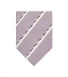 Armani Collezioni Gray-White Striped Tie
