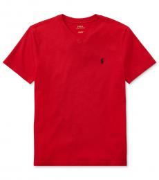 Ralph Lauren Boys Red V-Neck T-Shirt