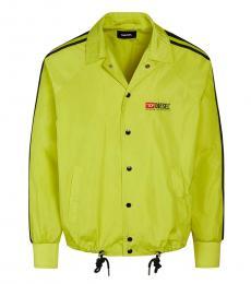 Diesel Neon Green Logo Buttoned Jacket