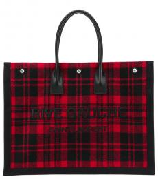 Saint Laurent Red Black Rive Gauche Shopping Large Tote