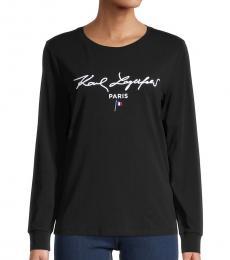 Karl Lagerfeld Black Long-Sleeve Logo T-Shirt
