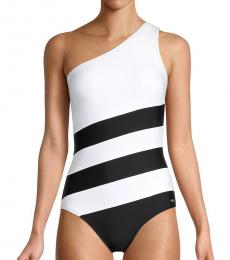 DKNY Black Colorblocked One-Piece Swimsuit